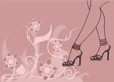 Trendy shoes, sandals and nice legs vector Royalty Free Stock Photo