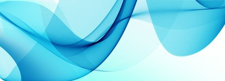 Trendy sky blue waves abstract design on white background
