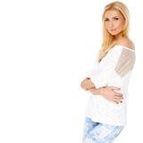 Trendy slim blond woman royalty free stock photos