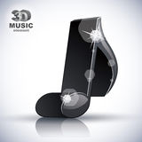 Trendy slim musical note 3d modern style icon . Royalty Free Stock Images
