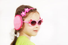 Trendy smiling cute little girl with sunglasses Stock Photo