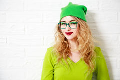 Trendy Smiling Hipster Girl. Greenery Colors. stock photo