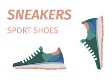 Trendy Sneakers. Sport Shoes Isolated Illustration Royalty Free Stock Images