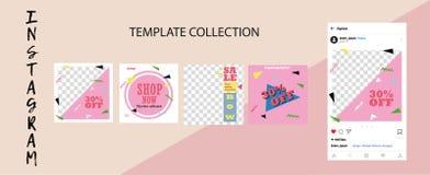 Trendy social network templates.Social media banners for your design. Editable Instagram Post mock up. For shops vector illustration