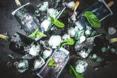Trendy spirulina popsicles stock images