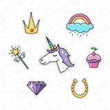 Trendy sticker pack with magical unicorn, rainbow, diamond, crown, magic wand, capkake, and horseshoe. vector illustration