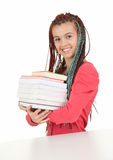 Trendy student girl with books Stock Photography