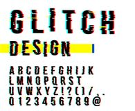 Trendy style distorted glitch typeface. Letters and numbers vector illustration. Glitch font design. Trendy style distorted glitch typeface. Letters and numbers stock illustration
