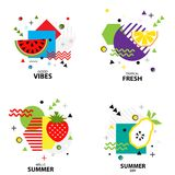Trendy style geometric pattern with fruit, vector illustration Stock Images