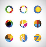 Trendy, stylish & colorful abstract circle icons s Royalty Free Stock Photos