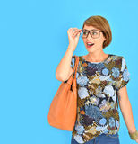 Trendy stylish girl wearing spring clothes and eyeglasses Royalty Free Stock Image