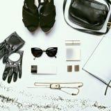 Trendy stylish youth black and white set Royalty Free Stock Image