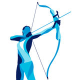 Trendy stylized illustration movement, archer, sports archery, line vector silhouette of Royalty Free Stock Photo