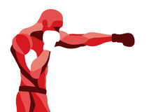 Trendy stylized illustration movement, boxer sport, pugilism, line vector silhouette of Stock Image