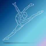 Trendy stylized illustration movement, curly gymnastics, acrobatics, line art vector silhouette, isolated on gradient stock photography