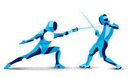 Trendy stylized illustration movement, fencing, line vector silhouette of mans stock illustration