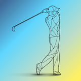 Trendy stylized illustration movement, golf player, golfer, line art vector silhouette, isolated on gradient background Royalty Free Stock Image