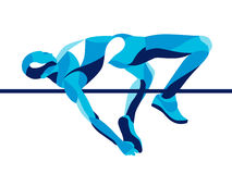 Trendy stylized illustration movement, high jump athlete composed of wave shape. Trendy illustration movement, high jump athlete composed of wave shape vector illustration