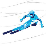 Trendy stylized illustration movement, skier, line vector silhouette. Stock Images