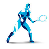 Trendy stylized illustration movement, tennis player, line vector silhouette of Royalty Free Stock Images