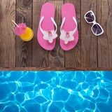 Trendy summer accessories on wooden background Royalty Free Stock Photos