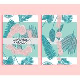 Trendy summer background set. Trendy summer tropical palm leaves and fruits background set. Banner, A4, card design with jungle exotic abstract leaves and Royalty Free Stock Photos