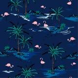 trendy Summer Beautiful seamless island pattern on deep blue background. Landscape with palm trees,beach ,flamingo birds royalty free illustration