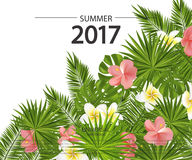 Trendy summer card, banner, poster with tropical flowers, plants and leaves . Vector illustration. Trendy summer card, banner, poster with tropical flowers Stock Illustration