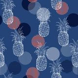 Trendy Summer fresh outline pineapple Seamless pattern with han stock illustration