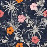 Trendy summer Hawaii print vector seamless beautiful artistic Br. Ight summer tropical pattern with exotic forest. Colorful original stylish floral hibiscus mix royalty free illustration