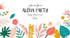 Trendy summer tropical banner for aloha party. Trendy summer tropical leaves banner for invitations, greeting cards. Aloha, hawaiian, cocktail party stock illustration