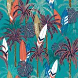 Trendy Summer vacation seamless hand drawing tropical pattern. With palm tree ,Sea summer seamless with palm trees, islands leaves and surfboards on deep ocean royalty free illustration