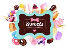 Trendy Sweets Frame Background Royalty Free Stock Photos