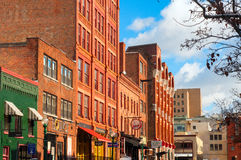 Trendy Syracuse Street. Syracuse NY - November 29: Walton St is part of Armory Square, a revitalized district in downtown Syracuse, New York, with shops Stock Images