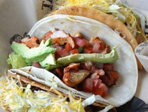 Tacos. Trendy tacos with fresh fillings in traditional tortillas royalty free stock photo