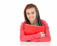 Trendy teenage girl with book Royalty Free Stock Photos