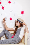 Trendy teenage girl with a cell phone. Selfie Royalty Free Stock Photos