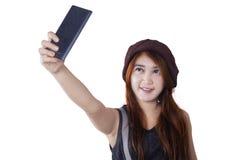 Trendy teenage girl making selfie photo Stock Photo