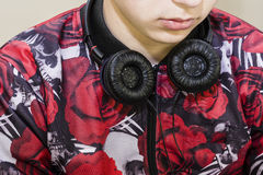 Trendy teenager with headphones Royalty Free Stock Photo