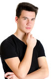 Trendy teenager man young boy posing in black tshirt isolated on Stock Photo