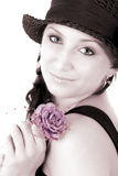 Trendy teenager with rose Royalty Free Stock Photo
