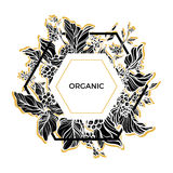 Trendy template. Organic. Coffee branches with leaves, flowers and natural coffee beans. Silhouette. Vector Stock Photos