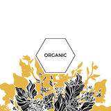 Trendy template. Organic. Coffee branches with leaves, flowers and natural coffee beans. Silhouette. Vector Royalty Free Stock Photo