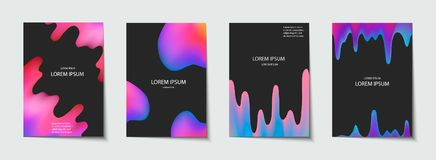 Trendy template set with futuristic modern neon shapes for poster, cover, card, broshure, banner. Royalty Free Stock Image
