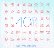 40 Trendy Thin Icons: Merry Christmas Royalty Free Stock Photos