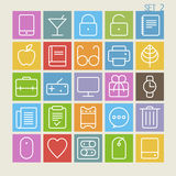 25 Trendy Thin Icons Set 2. On beige background Stock Images