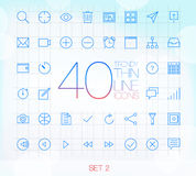 40 Trendy Thin Icons Set 2 Stock Photo