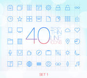 40 Trendy Thin Icons Set 1 Stock Image