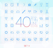 40 Trendy Thin Icons Set 4 Stock Image