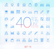 40 Trendy Thin Icons Set 16 Stock Photography
